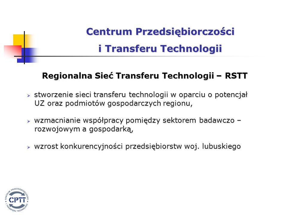 Regionalna Sieć Transferu Technologii – RSTT  stworzenie sieci transferu technologii w oparciu o potencjał UZ oraz podmiotów gospodarczych regionu, UZ oraz podmiotów gospodarczych regionu,  wzmacnianie współpracy pomiędzy sektorem badawczo – rozwojowym a gospodarką, rozwojowym a gospodarką,  wzrost konkurencyjności przedsiębiorstw woj.