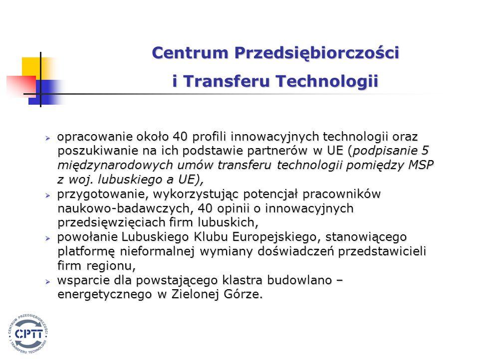  opracowanie około 40 profili innowacyjnych technologii oraz poszukiwanie na ich podstawie partnerów w UE (podpisanie 5 poszukiwanie na ich podstawie partnerów w UE (podpisanie 5 międzynarodowych umów transferu technologii pomiędzy MSP międzynarodowych umów transferu technologii pomiędzy MSP z woj.