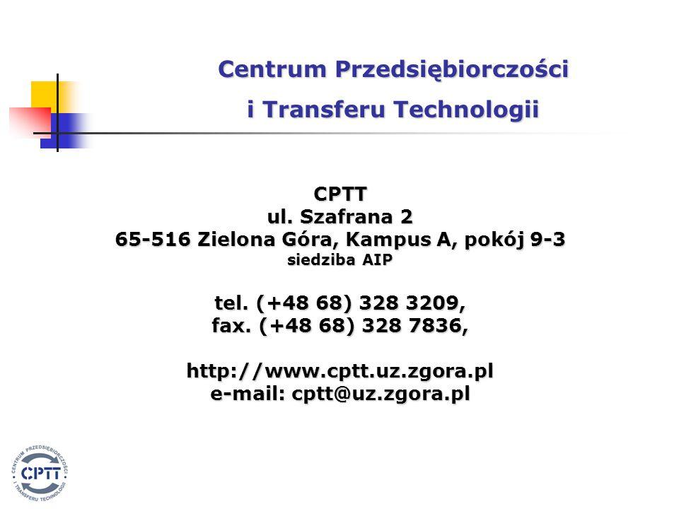CPTT ul. Szafrana 2 65-516 Zielona Góra, Kampus A, pokój 9-3 siedziba AIP tel.