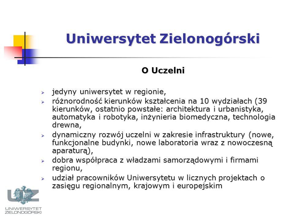 Uniwersytet Zielonogórski O Uczelni  jedyny uniwersytet w regionie,  różnorodność kierunków kształcenia na 10 wydziałach (39 kierunków, ostatnio powstałe: architektura i urbanistyka, automatyka i robotyka, inżynieria biomedyczna, technologia drewna,  dynamiczny rozwój uczelni w zakresie infrastruktury (nowe, funkcjonalne budynki, nowe laboratoria wraz z nowoczesną aparaturą),  dobra współpraca z władzami samorządowymi i firmami regionu,  udział pracowników Uniwersytetu w licznych projektach o zasięgu regionalnym, krajowym i europejskim