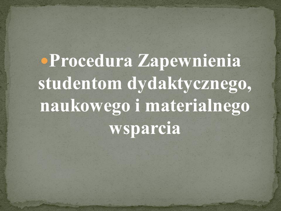 Procedura Zapewnienia studentom dydaktycznego, naukowego i materialnego wsparcia