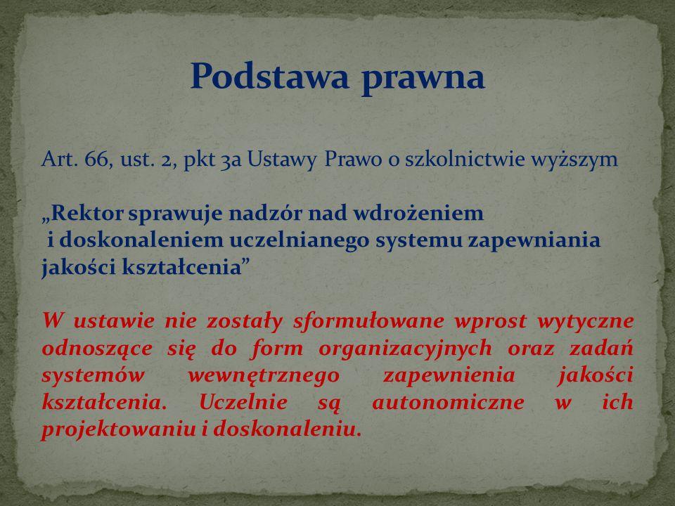 """Art. 66, ust. 2, pkt 3a Ustawy Prawo o szkolnictwie wyższym """"Rektor sprawuje nadzór nad wdrożeniem i doskonaleniem uczelnianego systemu zapewniania ja"""