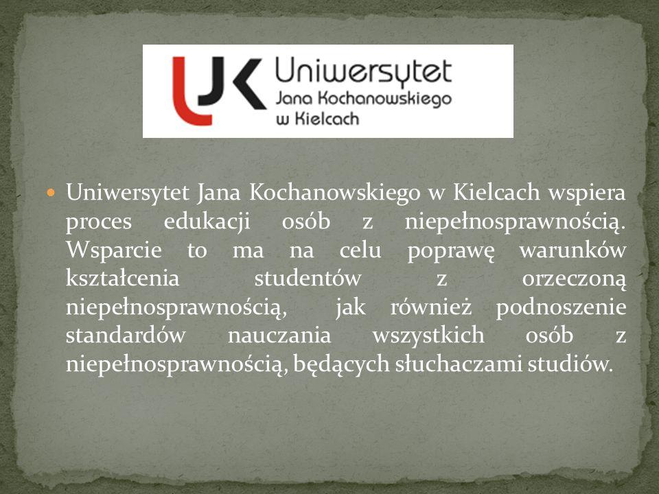Uniwersytet Jana Kochanowskiego w Kielcach wspiera proces edukacji osób z niepełnosprawnością. Wsparcie to ma na celu poprawę warunków kształcenia stu