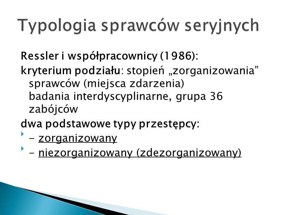 """Ressler i współpracownicy (1986): kryterium podziału: stopień """"zorganizowania"""" sprawców (miejsca zdarzenia) badania interdyscyplinarne, grupa 36 zabój"""
