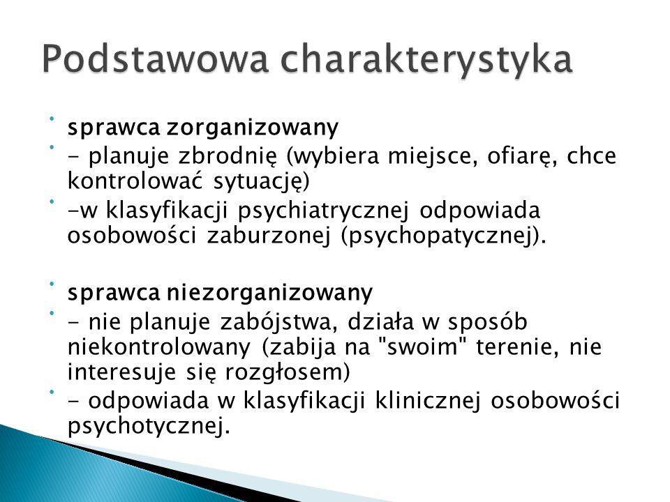 sprawca zorganizowany - planuje zbrodnię (wybiera miejsce, ofiarę, chce kontrolować sytuację) -w klasyfikacji psychiatrycznej odpowiada osobowości zab