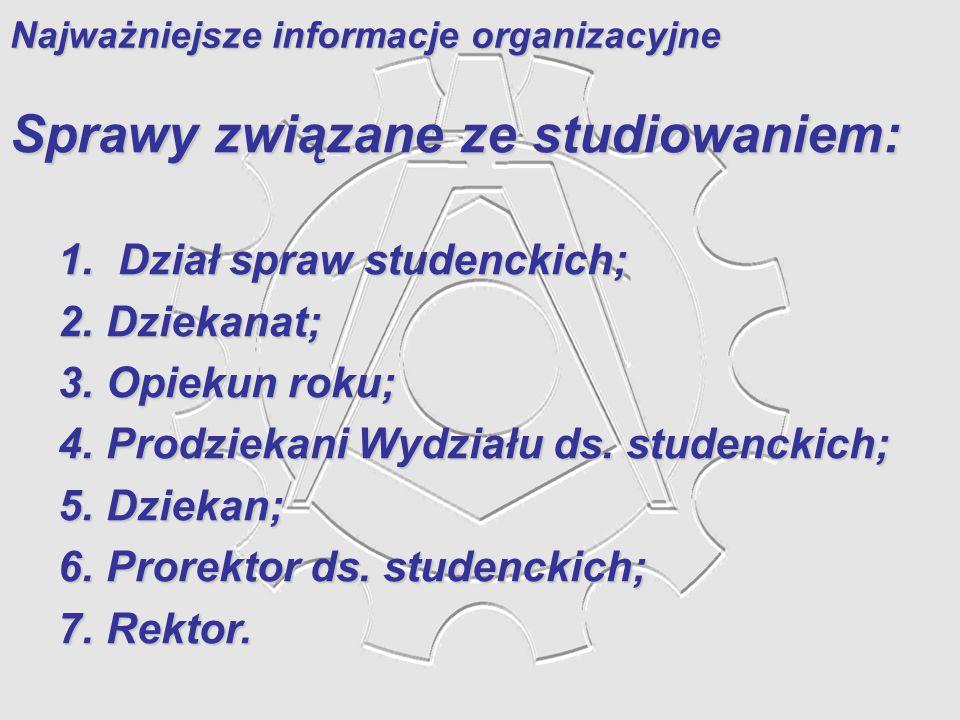 Najważniejsze informacje organizacyjne Sprawy związane ze studiowaniem: 1. Dział spraw studenckich; 2. Dziekanat; 3. Opiekun roku; 4. Prodziekani Wydz