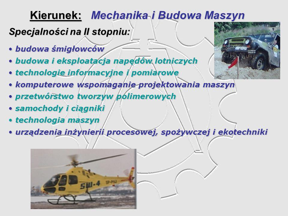 Kierunek: Mechanika i Budowa Maszyn Specjalności na II stopniu: budowa śmigłowców budowa śmigłowców budowa i eksploatacja napędów lotniczych budowa i