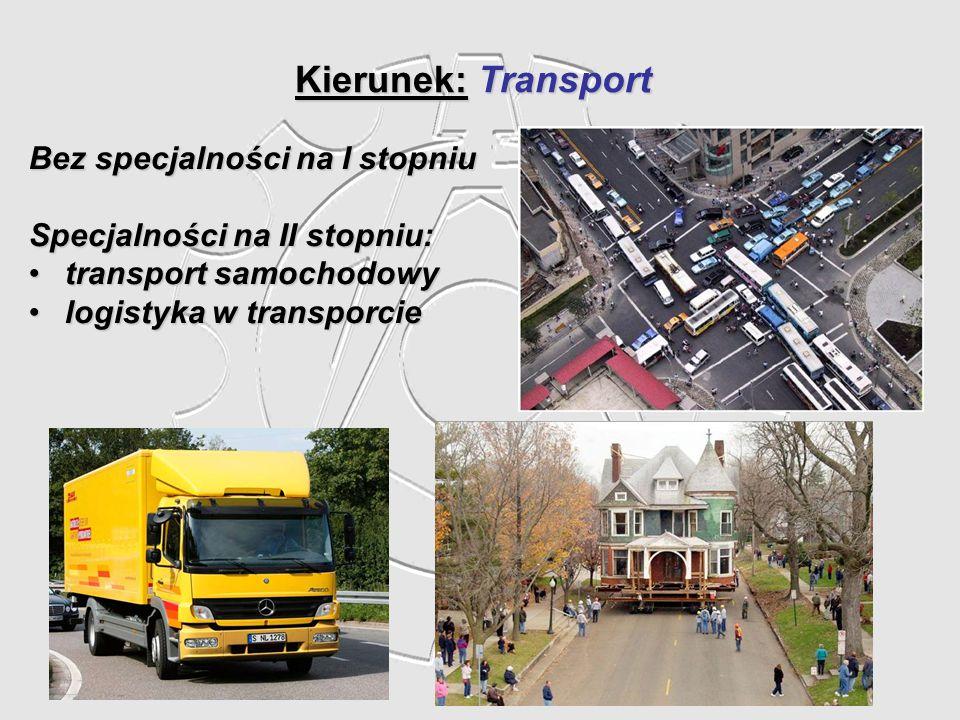 Kierunek: Transport Bez specjalności na I stopniu Specjalności na II stopniu: transport samochodowytransport samochodowy logistyka w transporcielogist