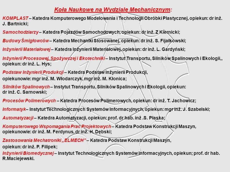 Koła Naukowe na Wydziale Mechanicznym: KOMPLAST – Katedra Komputerowego Modelowania i Technologii Obróbki Plastycznej, opiekun: dr inż. J. Bartnicki;
