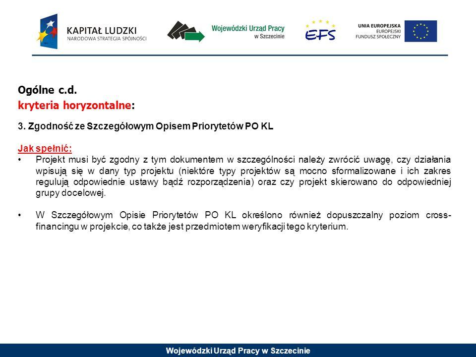 Wojewódzki Urząd Pracy w Szczecinie Ogólne c.d. kryteria horyzontalne: 3. Zgodność ze Szczegółowym Opisem Priorytetów PO KL Jak spełnić: Projekt musi