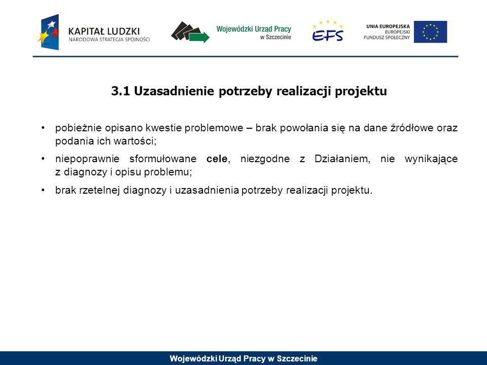 Wojewódzki Urząd Pracy w Szczecinie 3.1 Uzasadnienie potrzeby realizacji projektu pobieżnie opisano kwestie problemowe – brak powołania się na dane źr
