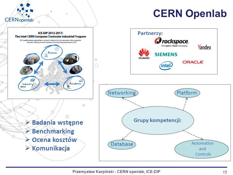 15 CERN Openlab Przemysław Karpiński - CERN openlab, ICE-DIP Partnerzy: Grupy kompetencji: Automation and Controls Database NetworkingPlatform  Badania wstępne  Benchmarking  Ocena kosztów  Komunikacja