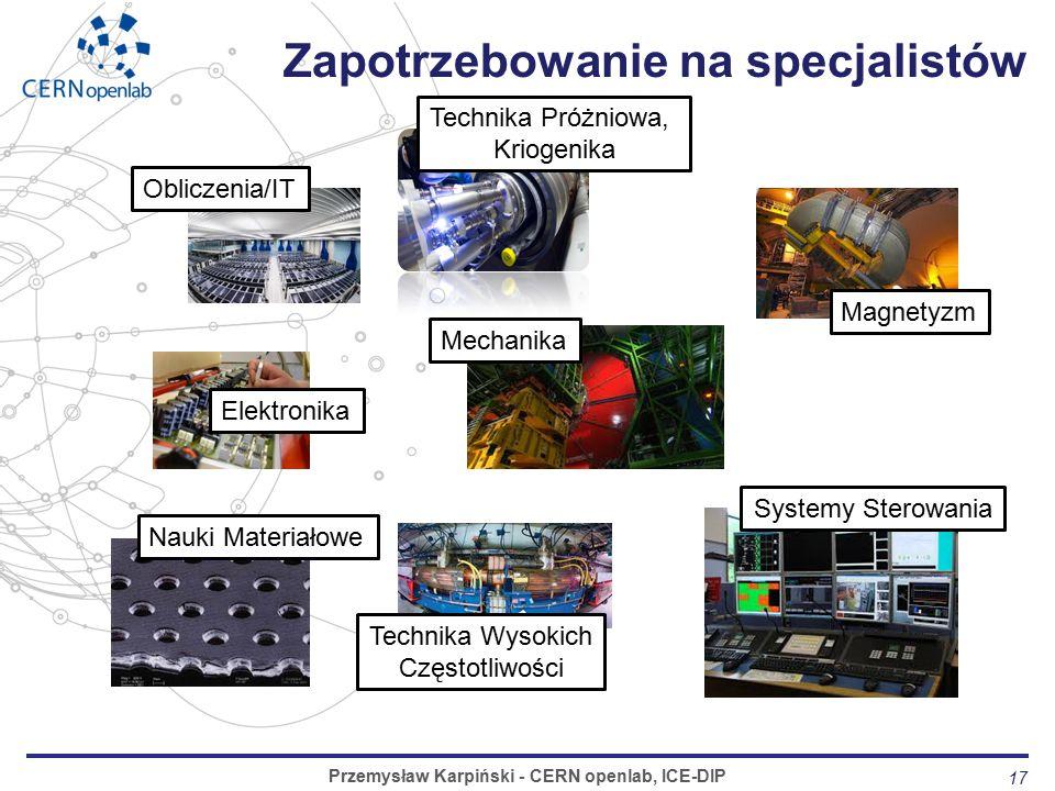 17 Zapotrzebowanie na specjalistów Przemysław Karpiński - CERN openlab, ICE-DIP Obliczenia/ITTechnika Próżniowa, Kriogenika Elektronika Magnetyzm Mechanika Nauki Materiałowe Technika Wysokich Częstotliwości Systemy Sterowania