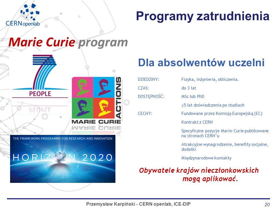 20 Programy zatrudnienia Przemysław Karpiński - CERN openlab, ICE-DIP Dla absolwentów uczelni DZIEDZINY: Fizyka, inżynieria, obliczenia.