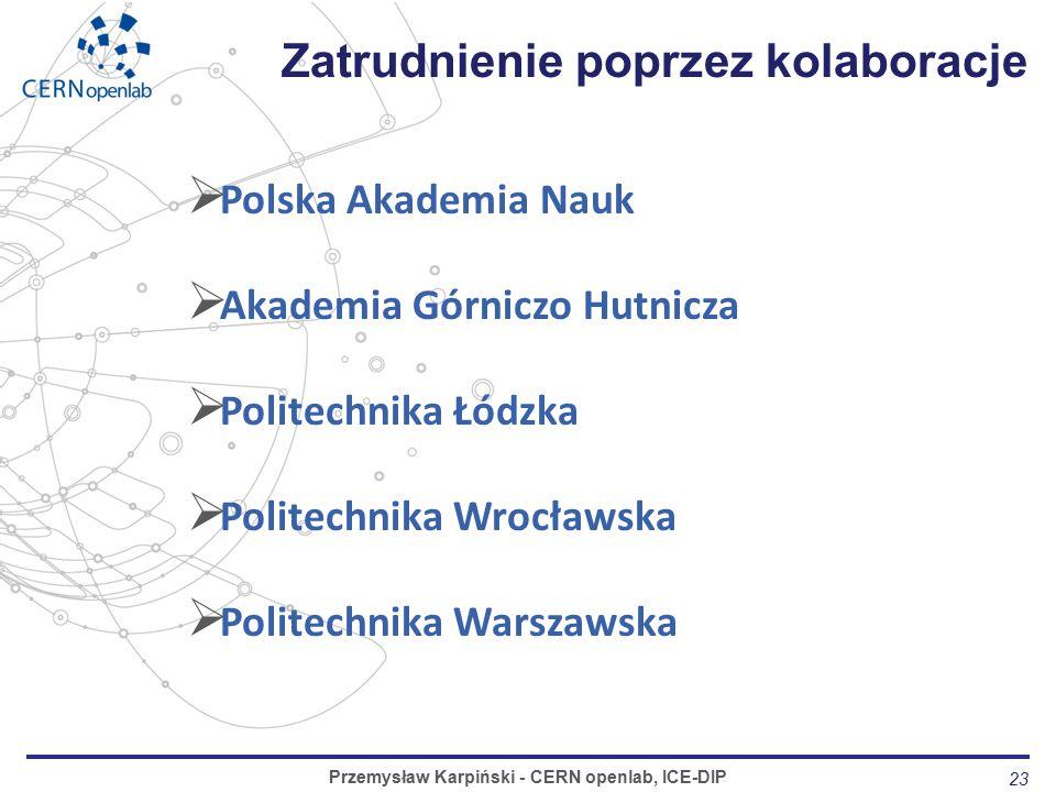  Polska Akademia Nauk  Akademia Górniczo Hutnicza  Politechnika Łódzka  Politechnika Wrocławska  Politechnika Warszawska 23 Zatrudnienie poprzez kolaboracje Przemysław Karpiński - CERN openlab, ICE-DIP