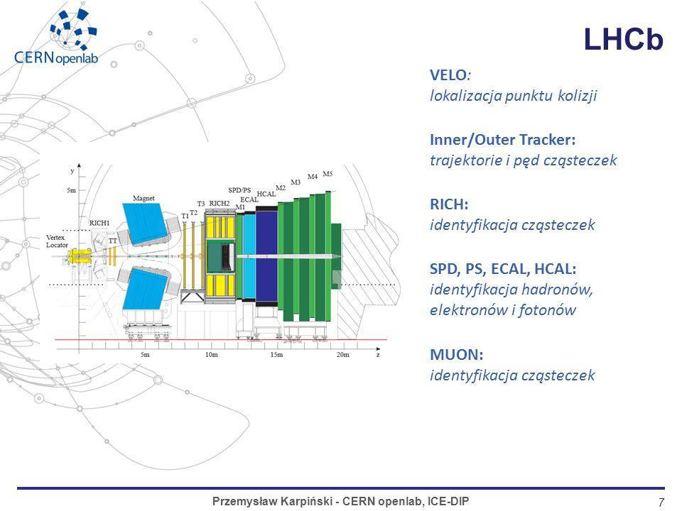 7 LHCb Przemysław Karpiński - CERN openlab, ICE-DIP VELO: lokalizacja punktu kolizji Inner/Outer Tracker: trajektorie i pęd cząsteczek RICH: identyfikacja cząsteczek SPD, PS, ECAL, HCAL: identyfikacja hadronów, elektronów i fotonów MUON: identyfikacja cząsteczek