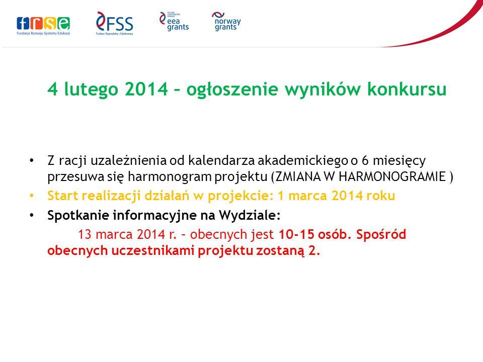4 lutego 2014 – ogłoszenie wyników konkursu Z racji uzależnienia od kalendarza akademickiego o 6 miesięcy przesuwa się harmonogram projektu (ZMIANA W