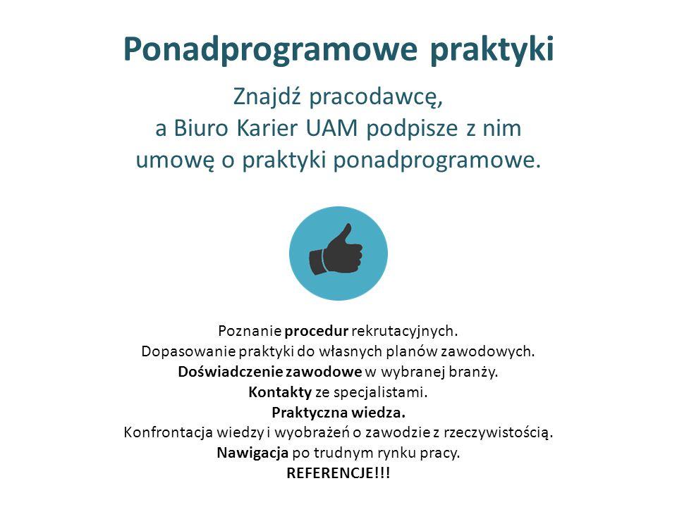 Ponadprogramowe praktyki Poznanie procedur rekrutacyjnych. Dopasowanie praktyki do własnych planów zawodowych. Doświadczenie zawodowe w wybranej branż