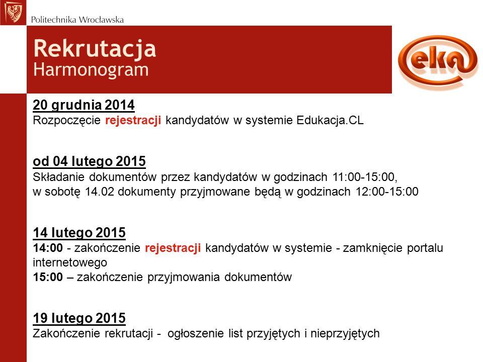 Rekrutacja Harmonogram 20 grudnia 2014 Rozpoczęcie rejestracji kandydatów w systemie Edukacja.CL od 04 lutego 2015 Składanie dokumentów przez kandydatów w godzinach 11:00-15:00, w sobotę 14.02 dokumenty przyjmowane będą w godzinach 12:00-15:00 14 lutego 2015 14:00 - zakończenie rejestracji kandydatów w systemie - zamknięcie portalu internetowego 15:00 – zakończenie przyjmowania dokumentów 19 lutego 2015 Zakończenie rekrutacji - ogłoszenie list przyjętych i nieprzyjętych