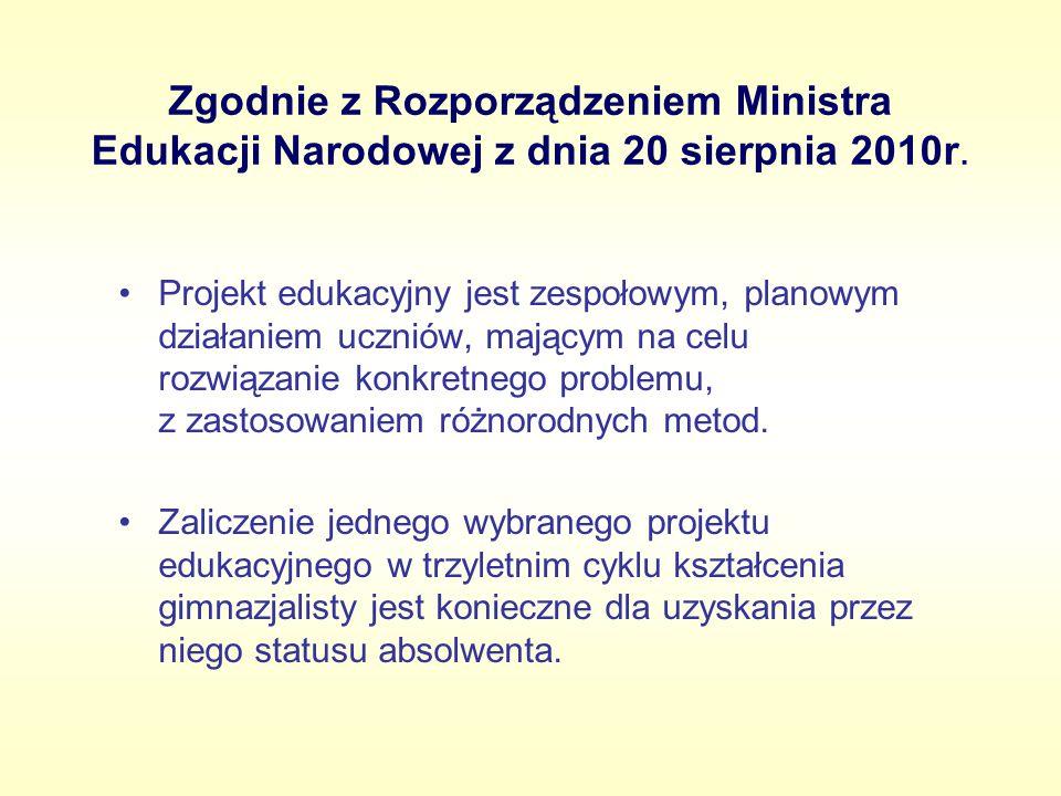 Zgodnie z Rozporządzeniem Ministra Edukacji Narodowej z dnia 20 sierpnia 2010r. Projekt edukacyjny jest zespołowym, planowym działaniem uczniów, mając