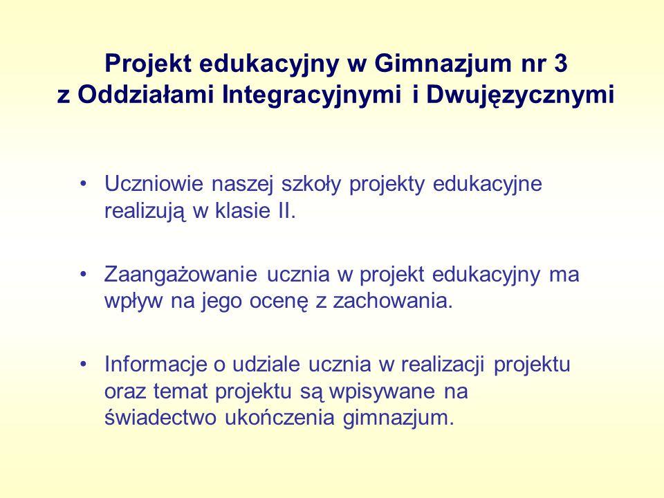 Projekt edukacyjny w Gimnazjum nr 3 z Oddziałami Integracyjnymi i Dwujęzycznymi Uczniowie naszej szkoły projekty edukacyjne realizują w klasie II. Zaa
