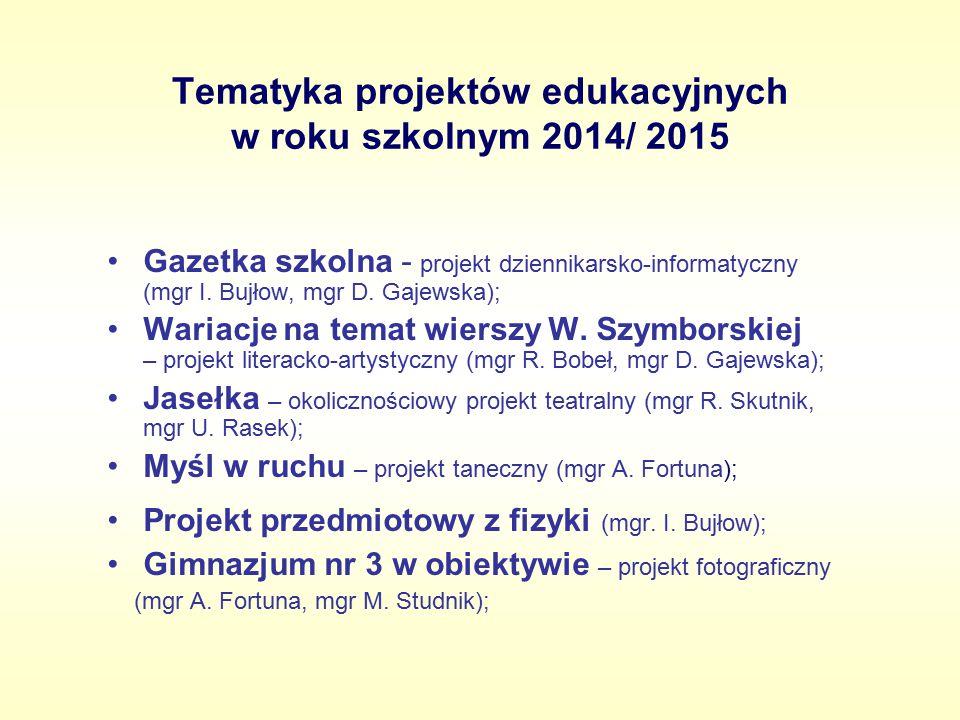Tematyka projektów edukacyjnych w roku szkolnym 2014/ 2015 Gazetka szkolna - projekt dziennikarsko-informatyczny (mgr I. Bujłow, mgr D. Gajewska); War