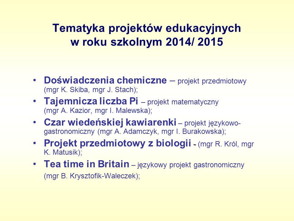 Tematyka projektów edukacyjnych w roku szkolnym 2014/ 2015 Doświadczenia chemiczne – projekt przedmiotowy (mgr K. Skiba, mgr J. Stach); Tajemnicza lic