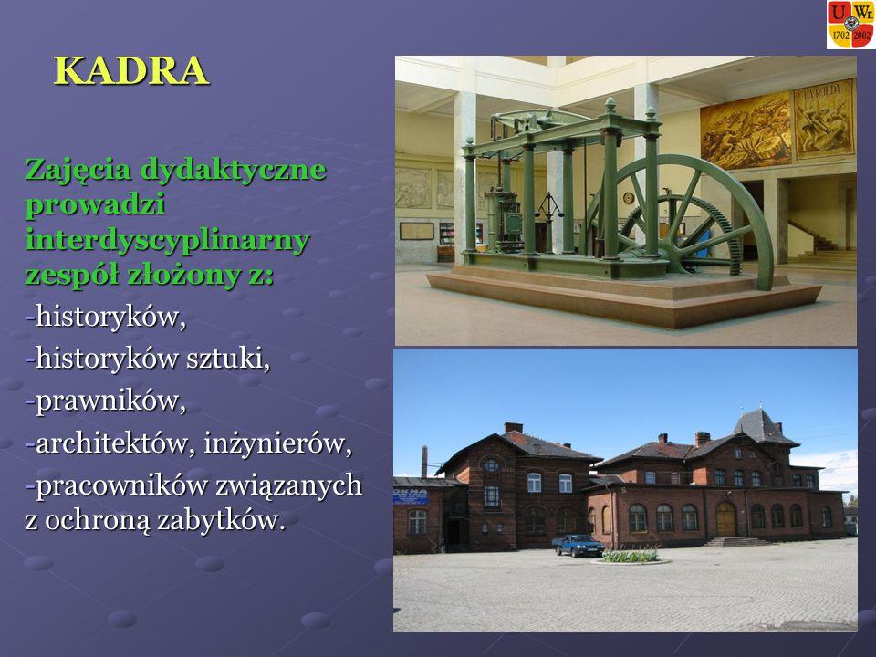 KADRA Zajęcia dydaktyczne prowadzi interdyscyplinarny zespół złożony z: -historyków, -historyków sztuki, -prawników, -architektów, inżynierów, -pracowników związanych z ochroną zabytków.