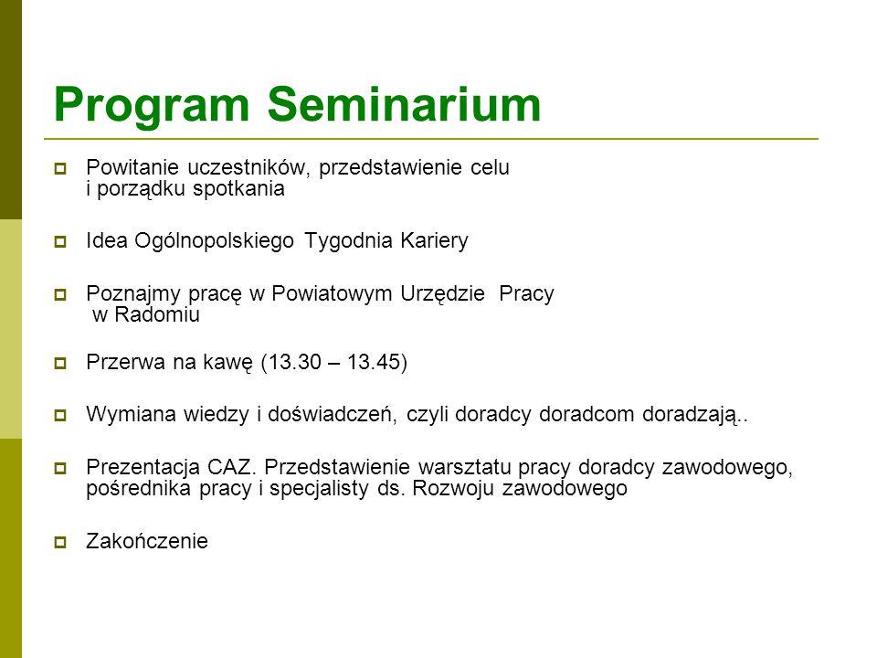 Program Seminarium  Powitanie uczestników, przedstawienie celu i porządku spotkania  Idea Ogólnopolskiego Tygodnia Kariery  Poznajmy pracę w Powiat