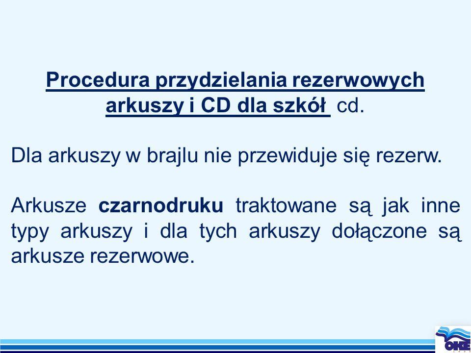 Procedura przydzielania rezerwowych arkuszy i CD dla szkół cd.