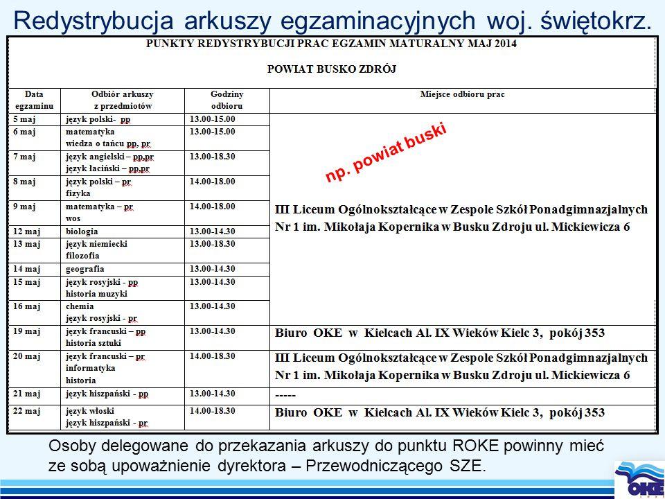 Redystrybucja arkuszy egzaminacyjnych woj. świętokrz.