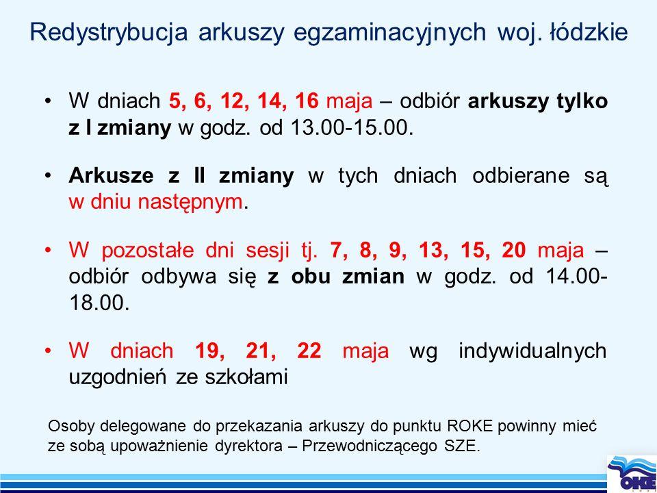 Redystrybucja arkuszy egzaminacyjnych woj.