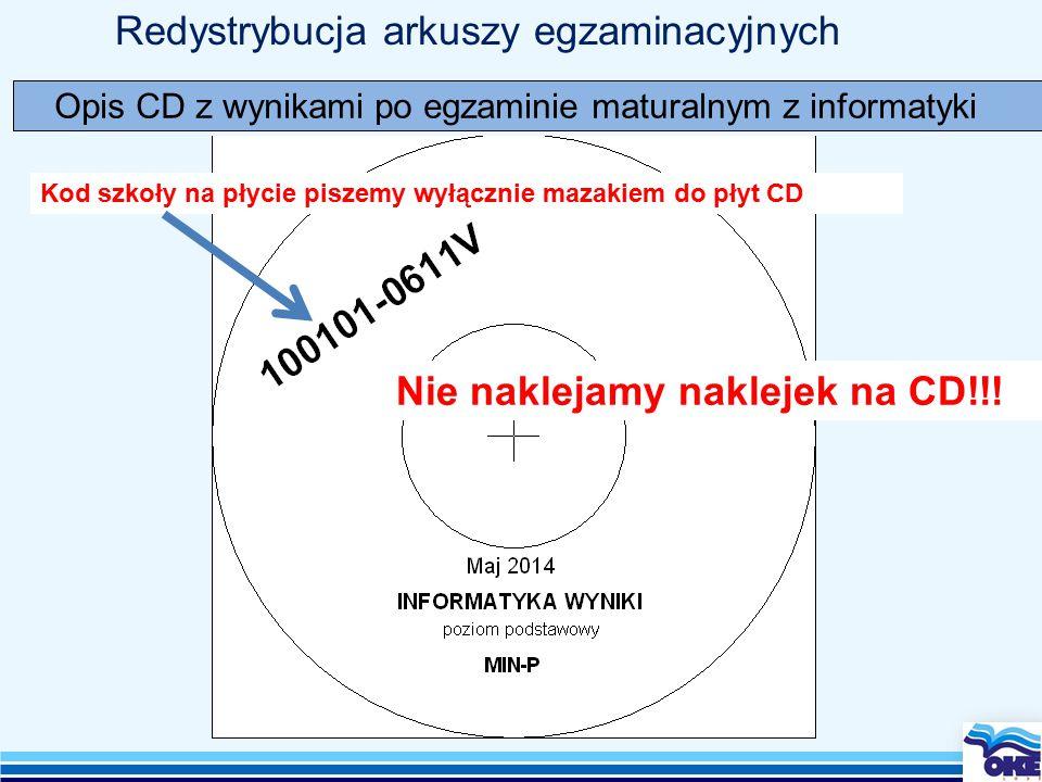 Redystrybucja arkuszy egzaminacyjnych Opis CD z wynikami po egzaminie maturalnym z informatyki Kod szkoły na płycie piszemy wyłącznie mazakiem do płyt CD Nie naklejamy naklejek na CD!!!
