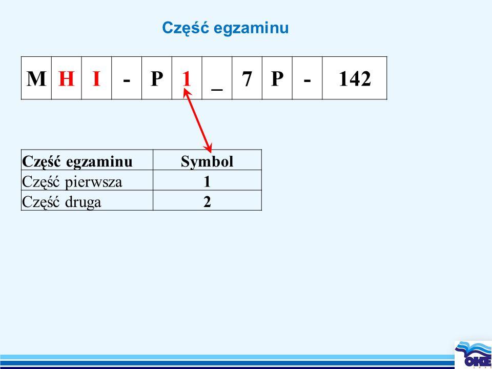 Część egzaminu MHI-P1_7P-142 Część egzaminuSymbol Część pierwsza1 Część druga2