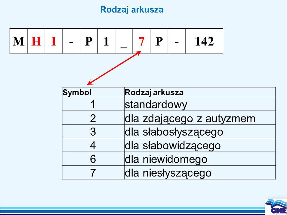 Rodzaj arkusza MHI-P1_7P-142 SymbolRodzaj arkusza 1standardowy 2dla zdającego z autyzmem 3dla słabosłyszącego 4dla słabowidzącego 6dla niewidomego 7dla niesłyszącego