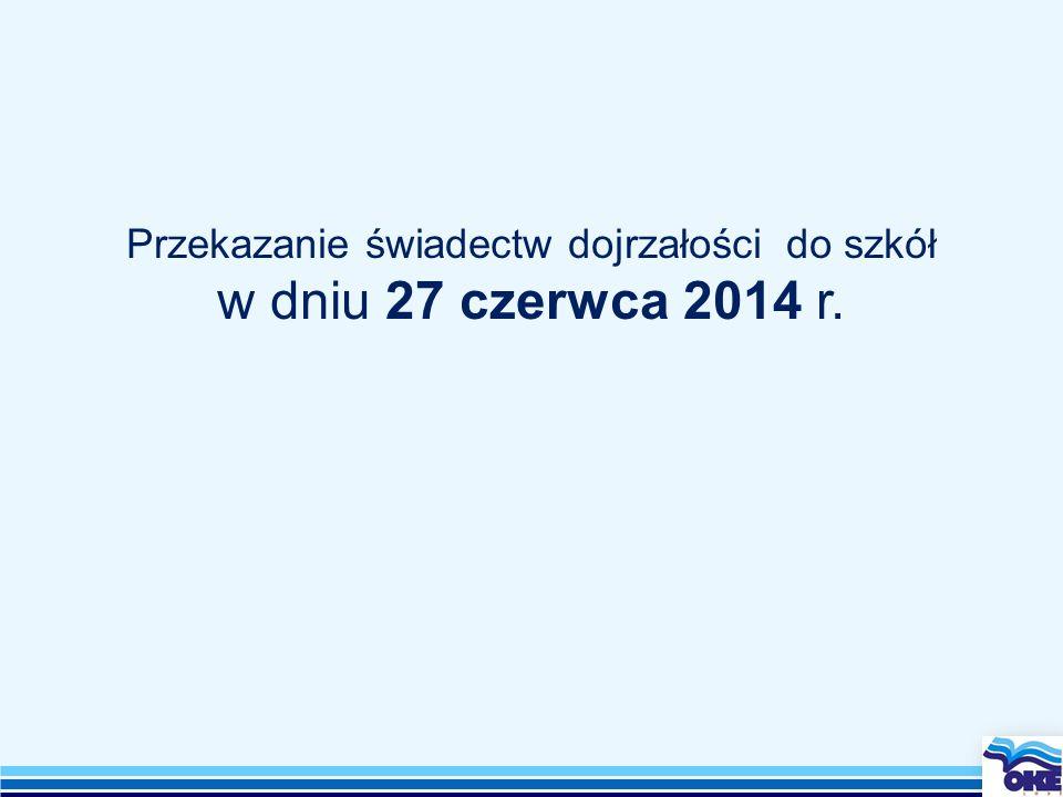 Przekazanie świadectw dojrzałości do szkół w dniu 27 czerwca 2014 r.