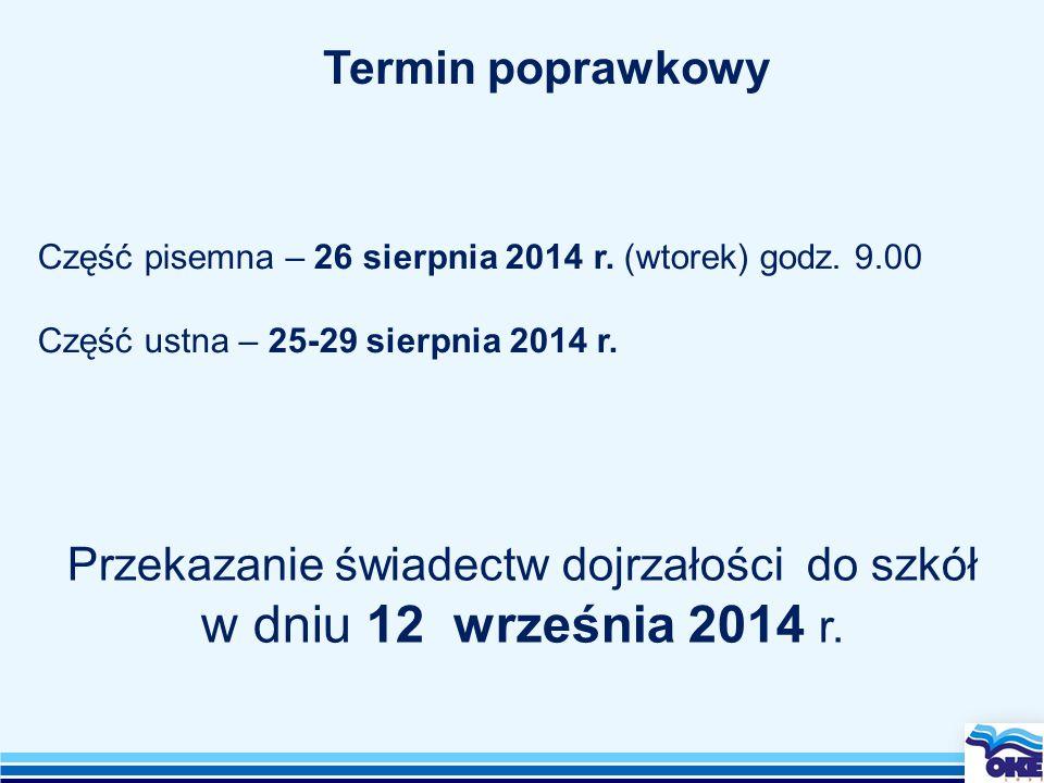 Przekazanie świadectw dojrzałości do szkół w dniu 12 września 2014 r.
