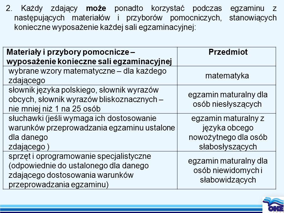 2. Każdy zdający może ponadto korzystać podczas egzaminu z następujących materiałów i przyborów pomocniczych, stanowiących konieczne wyposażenie każde