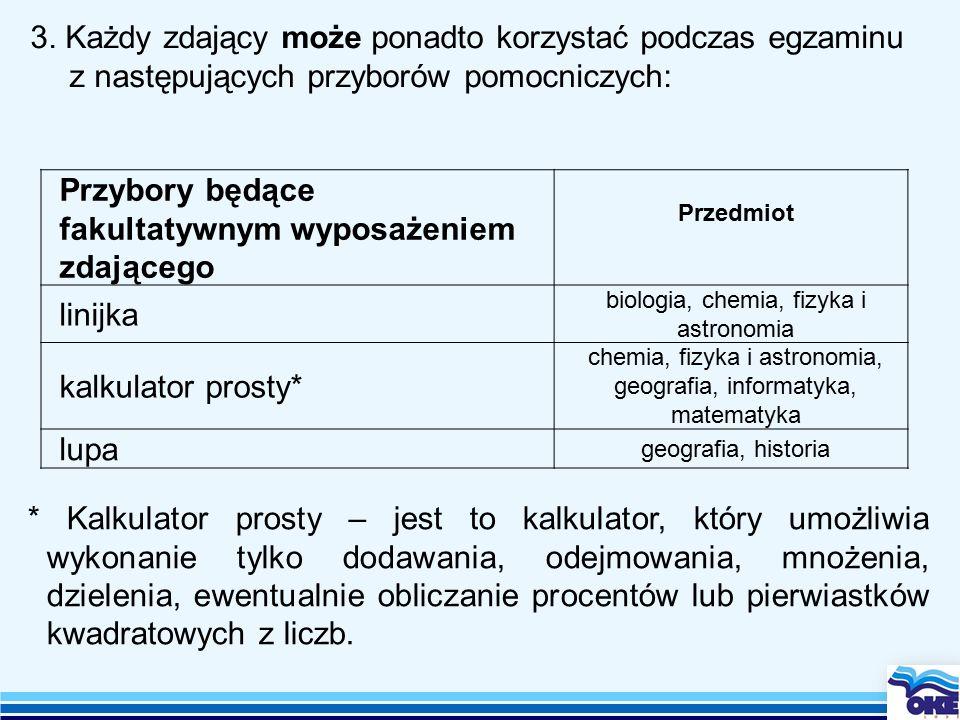 3. Każdy zdający może ponadto korzystać podczas egzaminu z następujących przyborów pomocniczych: Przybory będące fakultatywnym wyposażeniem zdającego