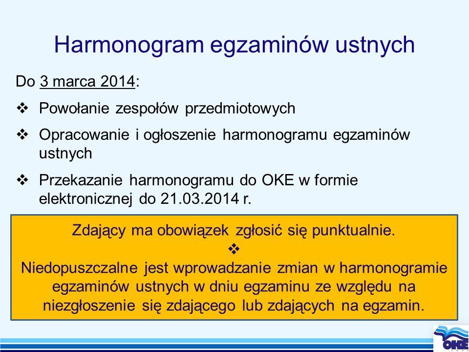 Harmonogram egzaminów ustnych Zdający ma obowiązek zgłosić się punktualnie.