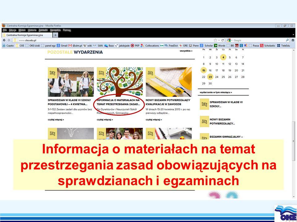 Informacja o materiałach na temat przestrzegania zasad obowiązujących na sprawdzianach i egzaminach