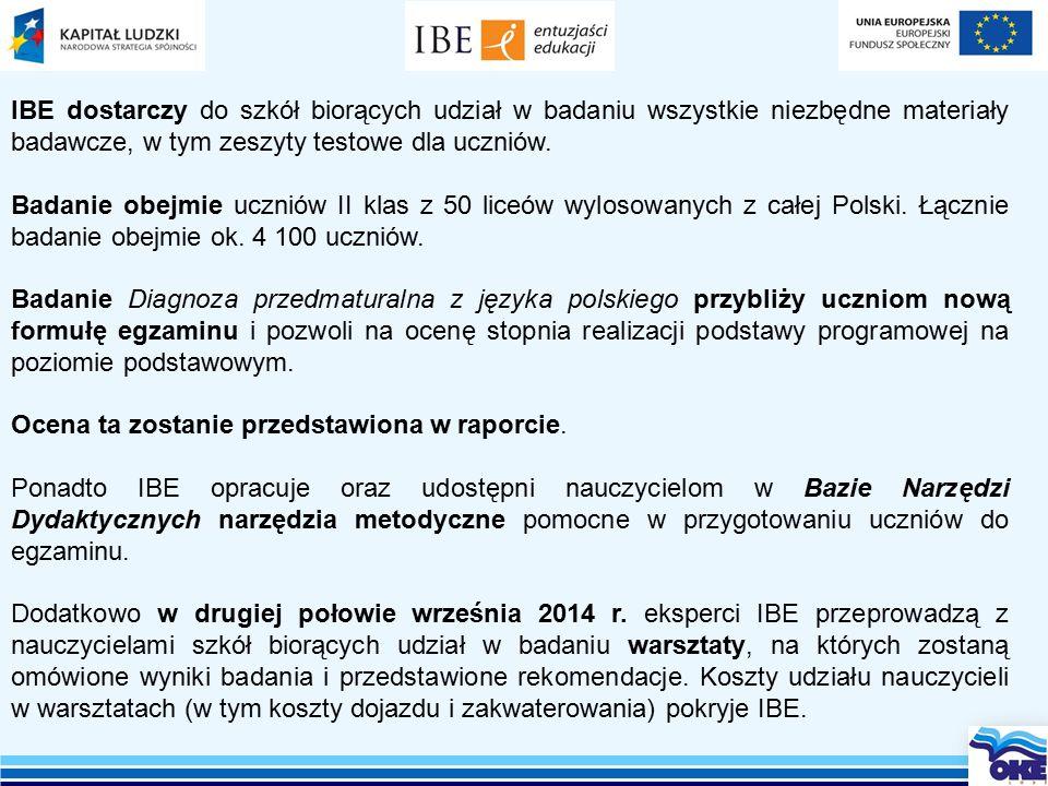 IBE dostarczy do szkół biorących udział w badaniu wszystkie niezbędne materiały badawcze, w tym zeszyty testowe dla uczniów.