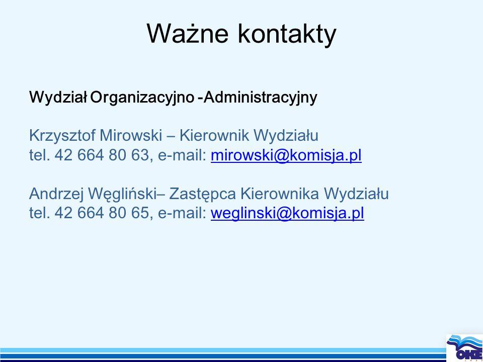 Ważne kontakty Wydział Organizacyjno -Administracyjny Krzysztof Mirowski – Kierownik Wydziału tel.