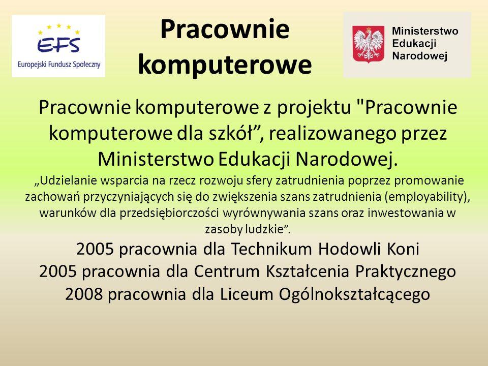 Pracownie komputerowe z projektu Pracownie komputerowe dla szkół , realizowanego przez Ministerstwo Edukacji Narodowej.