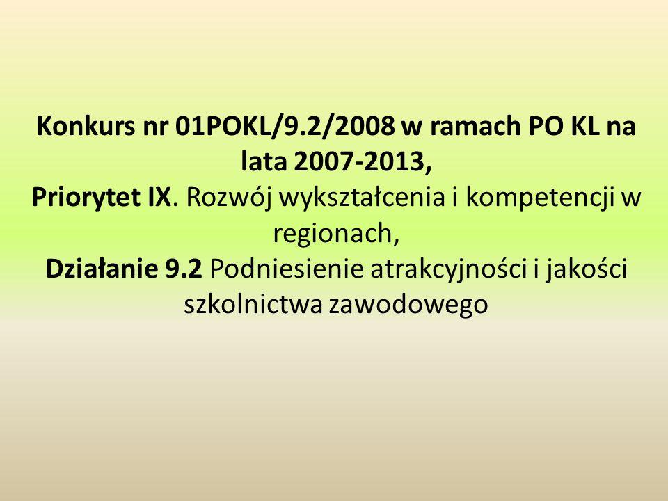 Konkurs nr 01POKL/9.2/2008 w ramach PO KL na lata 2007-2013, Priorytet IX. Rozwój wykształcenia i kompetencji w regionach, Działanie 9.2 Podniesienie