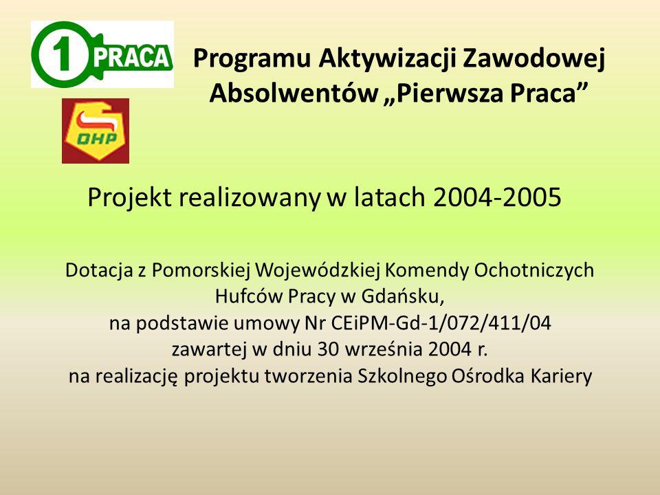 Dotacja z Pomorskiej Wojewódzkiej Komendy Ochotniczych Hufców Pracy w Gdańsku, na podstawie umowy Nr CEiPM-Gd-1/072/411/04 zawartej w dniu 30 września 2004 r.