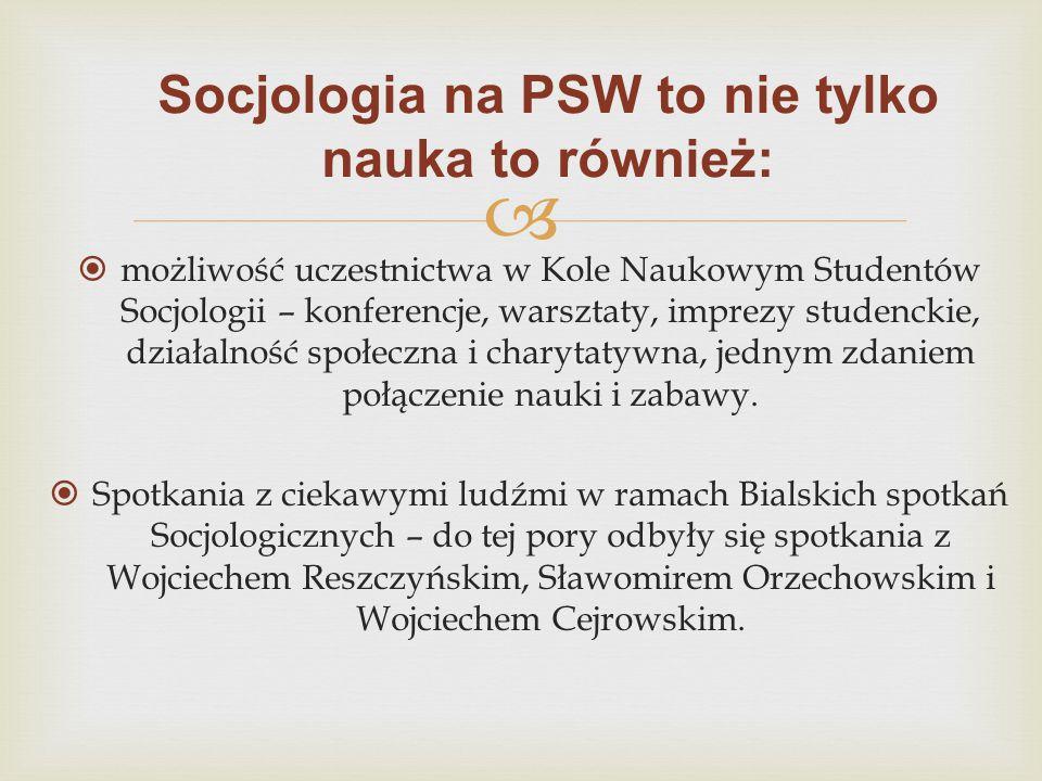   możliwość uczestnictwa w Kole Naukowym Studentów Socjologii – konferencje, warsztaty, imprezy studenckie, działalność społeczna i charytatywna, je