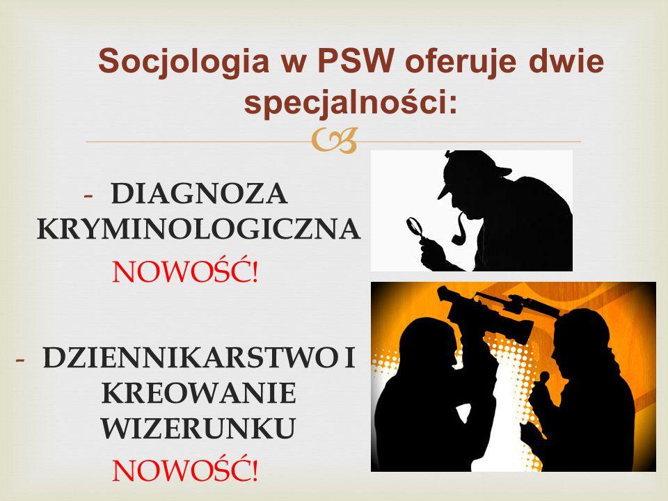  Socjologia w PSW oferuje dwie specjalności: - DIAGNOZA KRYMINOLOGICZNA NOWOŚĆ! - DZIENNIKARSTWO I KREOWANIE WIZERUNKU NOWOŚĆ!