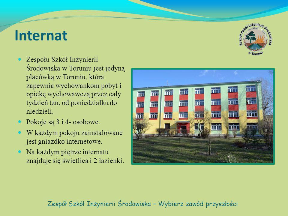 Internat Zespołu Szkół Inżynierii Środowiska w Toruniu jest jedyną placówką w Toruniu, która zapewnia wychowankom pobyt i opiekę wychowawczą przez cały tydzień tzn.