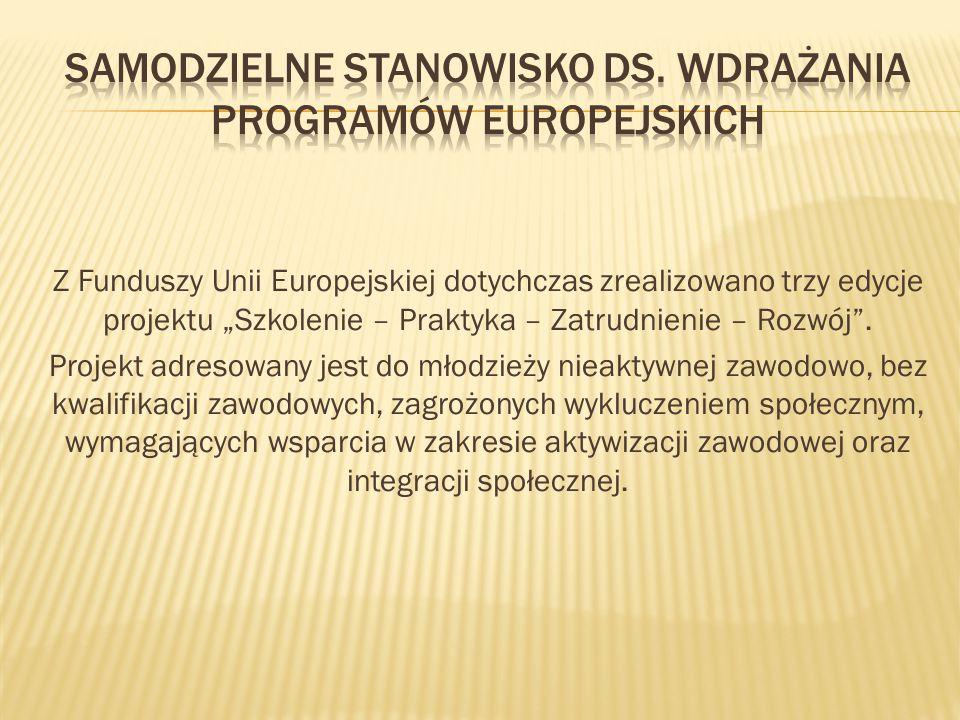 """Z Funduszy Unii Europejskiej dotychczas zrealizowano trzy edycje projektu """"Szkolenie – Praktyka – Zatrudnienie – Rozwój"""". Projekt adresowany jest do m"""